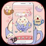 Cover Image of Download Pink tea cup cute steamed bun Desktop Theme APK
