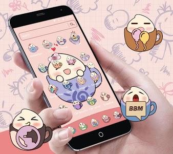 Download Pink tea cup cute steamed bun Desktop Theme APK